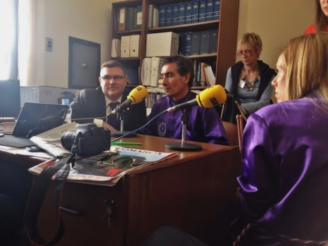 Raúl Campoy y Juan Herrero durante una entrevista para la radio