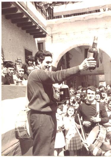La cuadrilla de Tomás Gastón en el concurso de Tambores de Híjar año 1968
