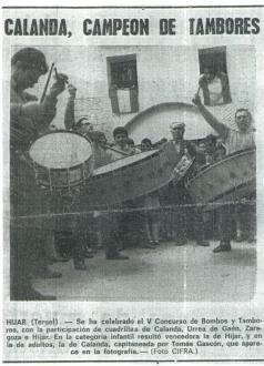 La cuadrilla de Tomás Gastón en el concurso de Tambores de Híjar año 1970