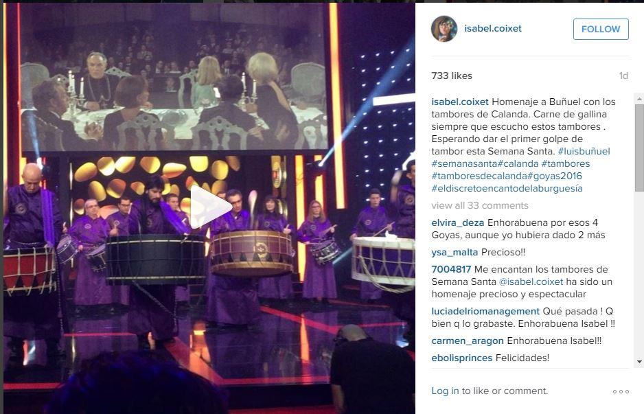 Gala Premios Goya 2016 - Instagram de Isabel Coixet