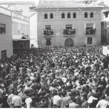 Rompida de la hora en el año 1971 (último año en la Plaza de la Hoya)