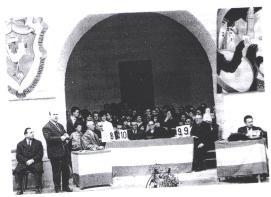 Jurado del Primer Concurso de Tambores de Híjar en 1966 - Foto de Mariano Laborda