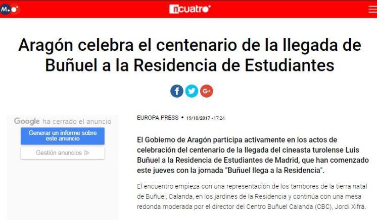 Cuatro TV - Tambores y bombos de Calanda en el 100 aniversario de la llegada de Luis Buñuel a la Residencia de Estudiantes