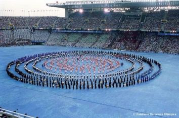 Tambores y bombos del Bajo Aragón en JJOO Barcelona 1992 (Foto de Alberto Casamian)