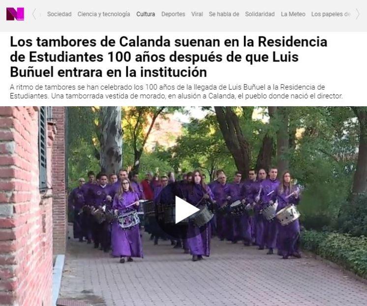 La Sexta TV - Tambores y bombos de Calanda en el 100 aniversario de la llegada de Luis Buñuel a la Residencia de Estudiantes
