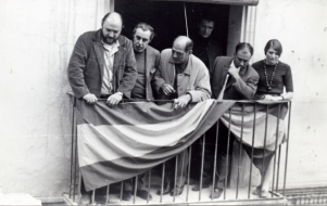 Luis Buñuel con su hijo Juan Luis y Fernando Rey en Calanda