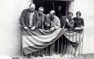 Luis Buñuel con su hijo Juan Luis y Fernando Rey en Calanda (1968)