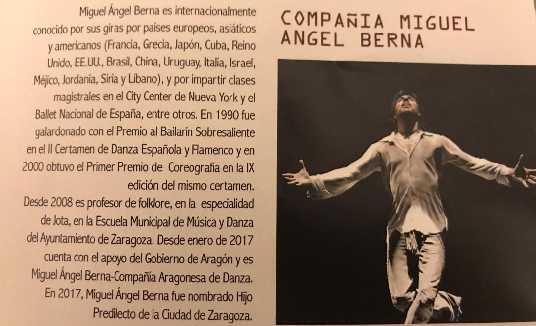 """Compañía de Miguel Angel Berna (información del programa de mano de """"Buñuel del Deseo"""")"""