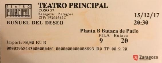 """Entrada Teatro Principal """"Buñuel del Deseo"""" 15/12/2017"""