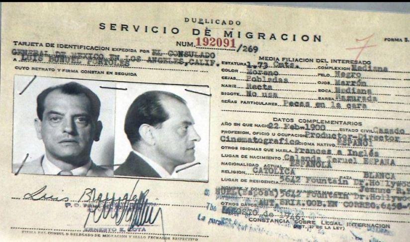 Servicio Inmigración México Luis Buñuel. ARCHIVO CASA MEXICO