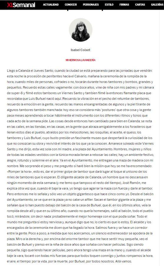 """""""Romper el Tiempo"""" XL Semanal - Artículo Isabel Coixet"""