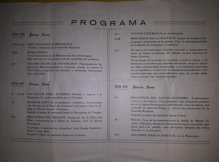 Programa de la Semana Santa de Calanda 1970 (2)