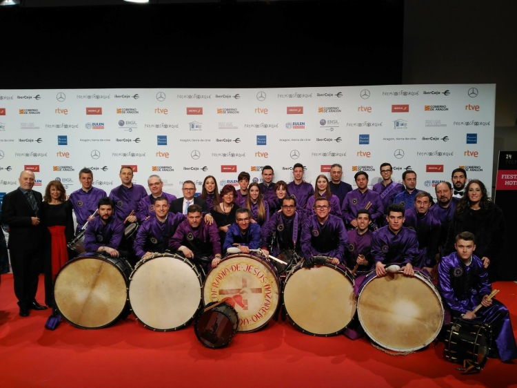 """Tambores y Bombos de Calanda en la Gala de los XXIV Premios Forqué (Zaragoza, 12/01/2019) - Foto de """"La Comarca"""""""