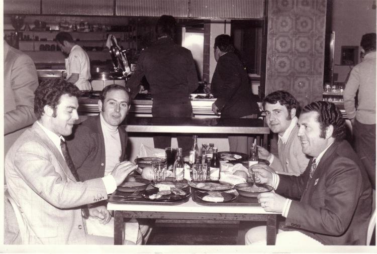 Viaje de los tambores de Calanda a Madrid en 1974 (Miguel Espada, Miguel Magrazó, Pascual Palos y Manuel Dueñas)